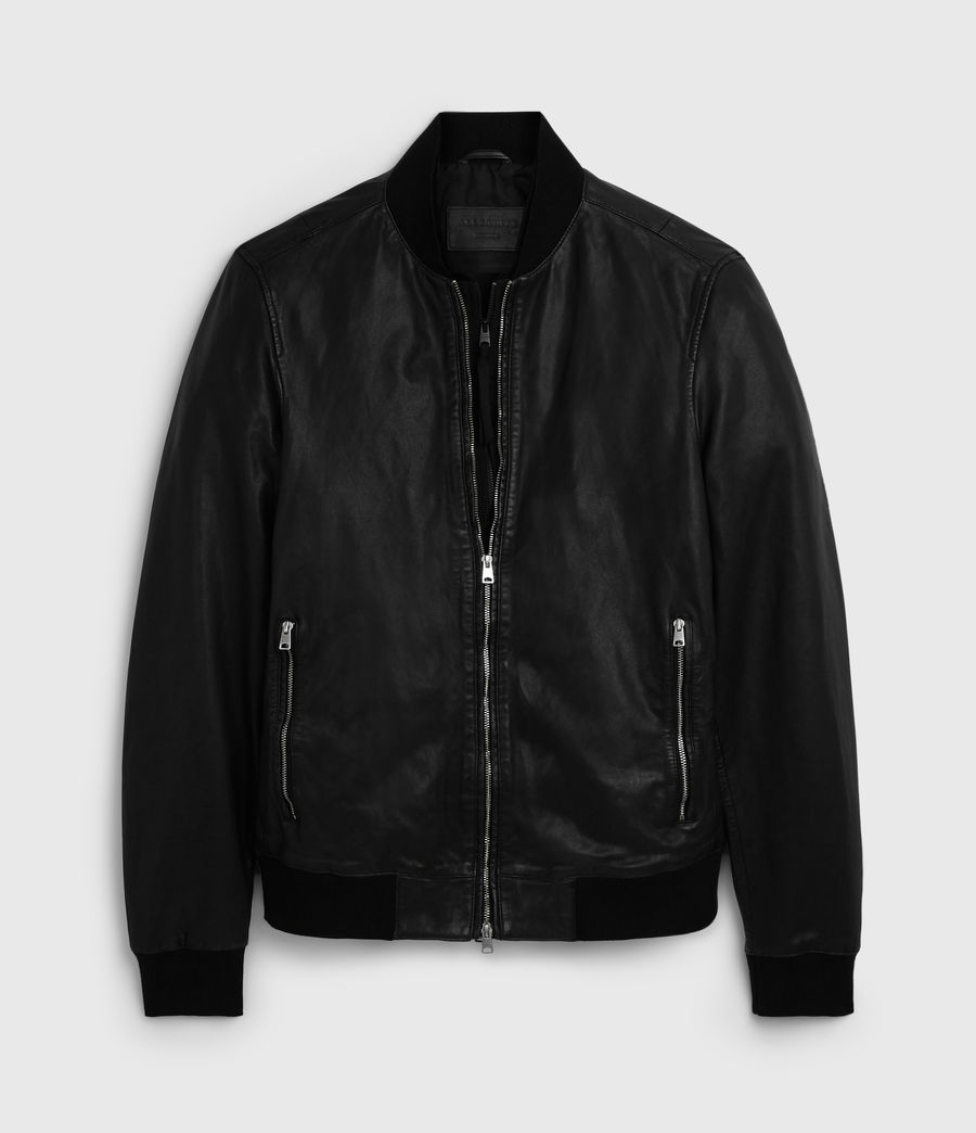 Mens Blythe Leather Bomber Jacket (black) - Image 6