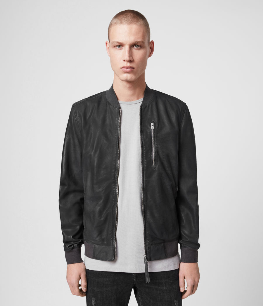 Mens Kino Leather Bomber Jacket (deep_slate) - Image 1