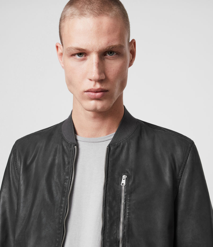 Mens Kino Leather Bomber Jacket (deep_slate) - Image 2