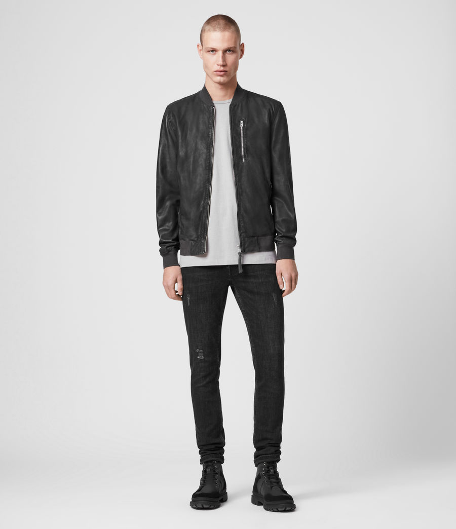 Mens Kino Leather Bomber Jacket (deep_slate) - Image 3