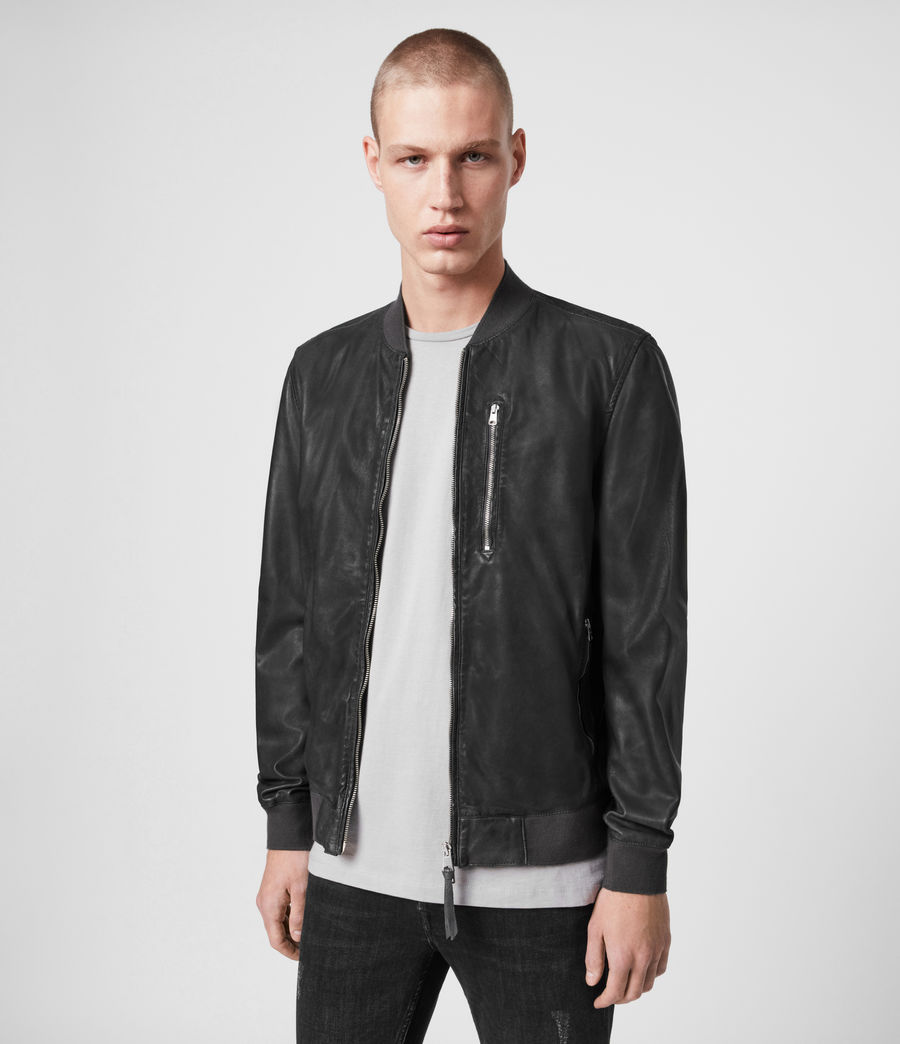 Mens Kino Leather Bomber Jacket (deep_slate) - Image 4