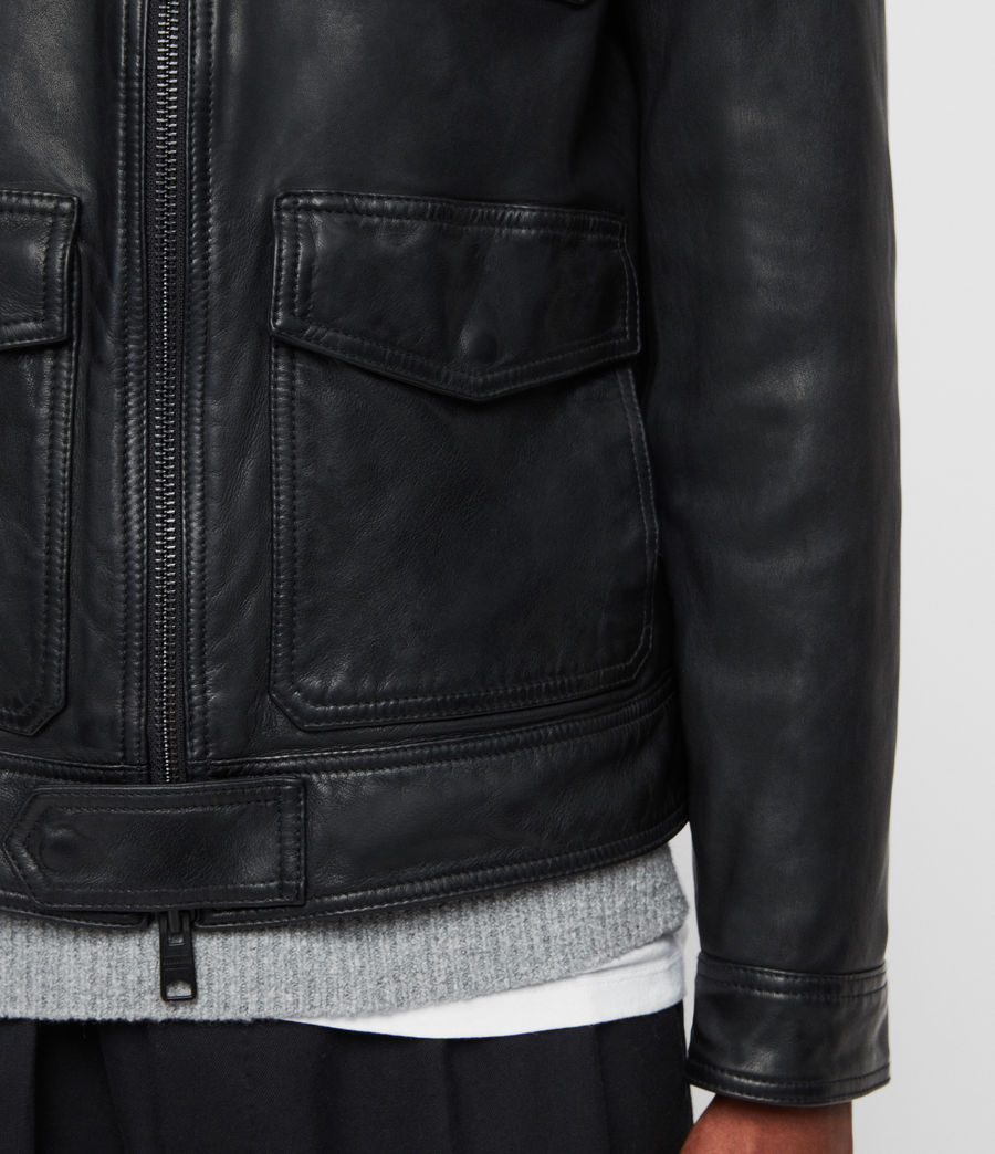 Men's Castle Leather Jacket (black) - Image 6