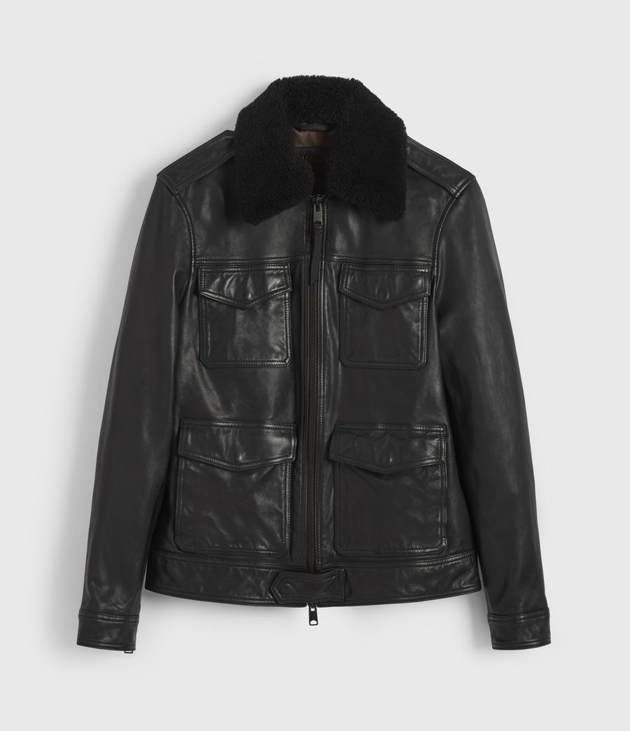 Men's Castle Leather Jacket (black) - Image 8