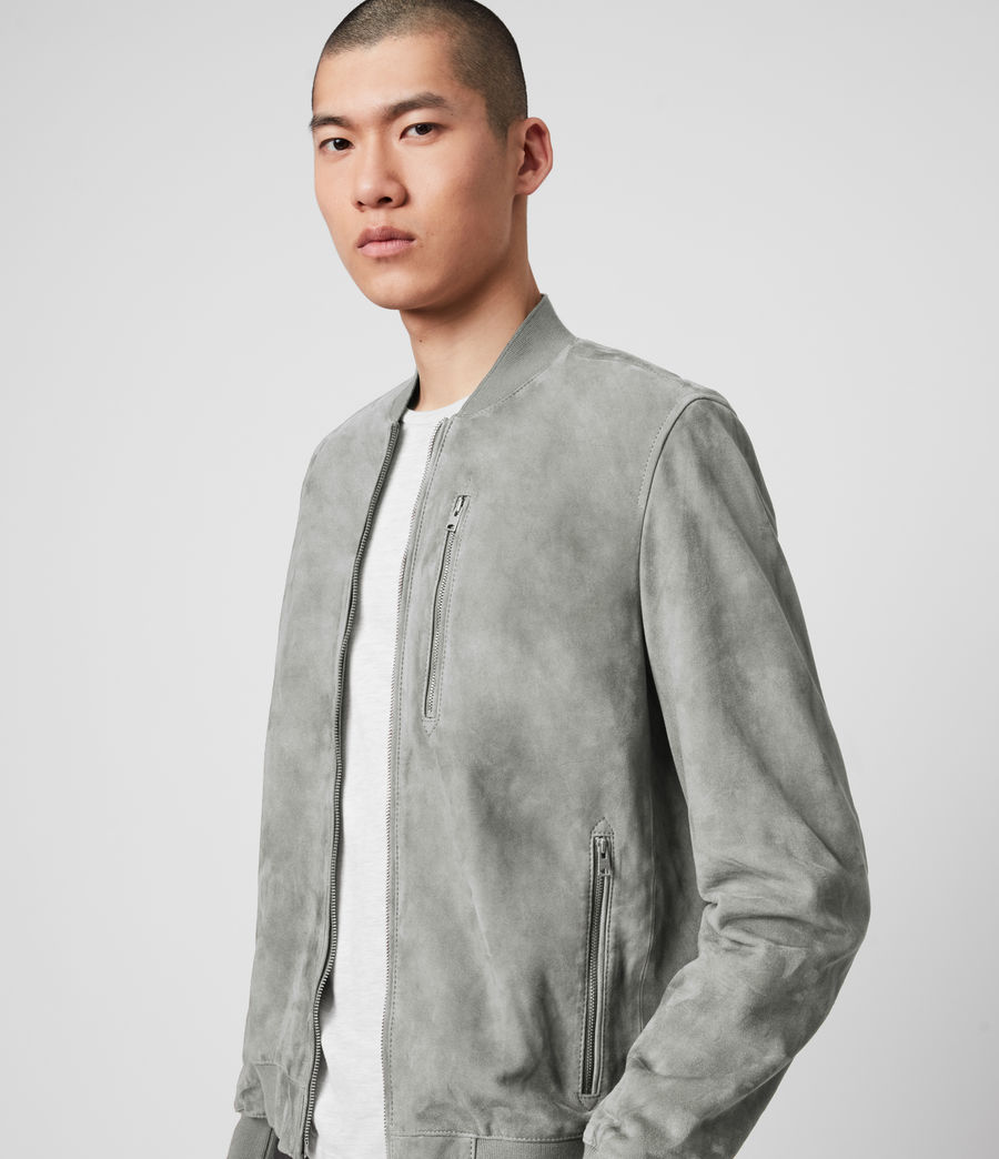 Men's Kemble Suede Bomber Jacket (sky_blue) - Image 2