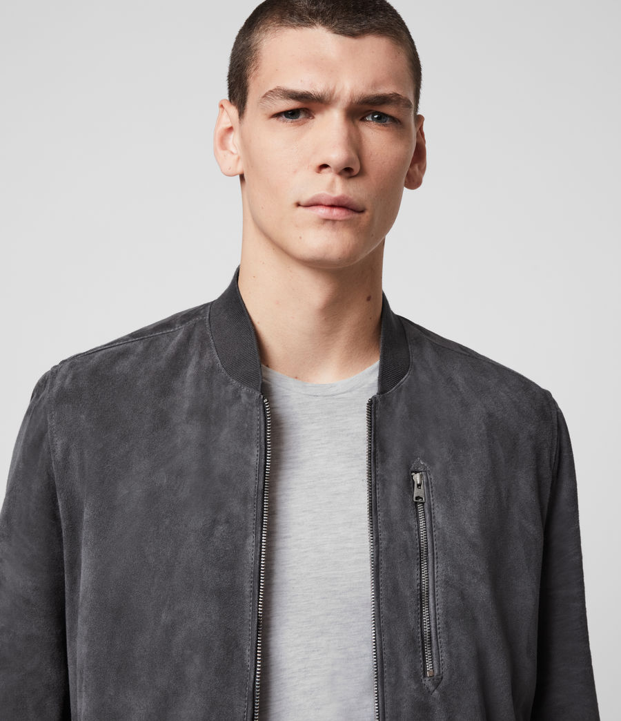 Men's Kemble Suede Bomber Jacket (slate_grey) - Image 2