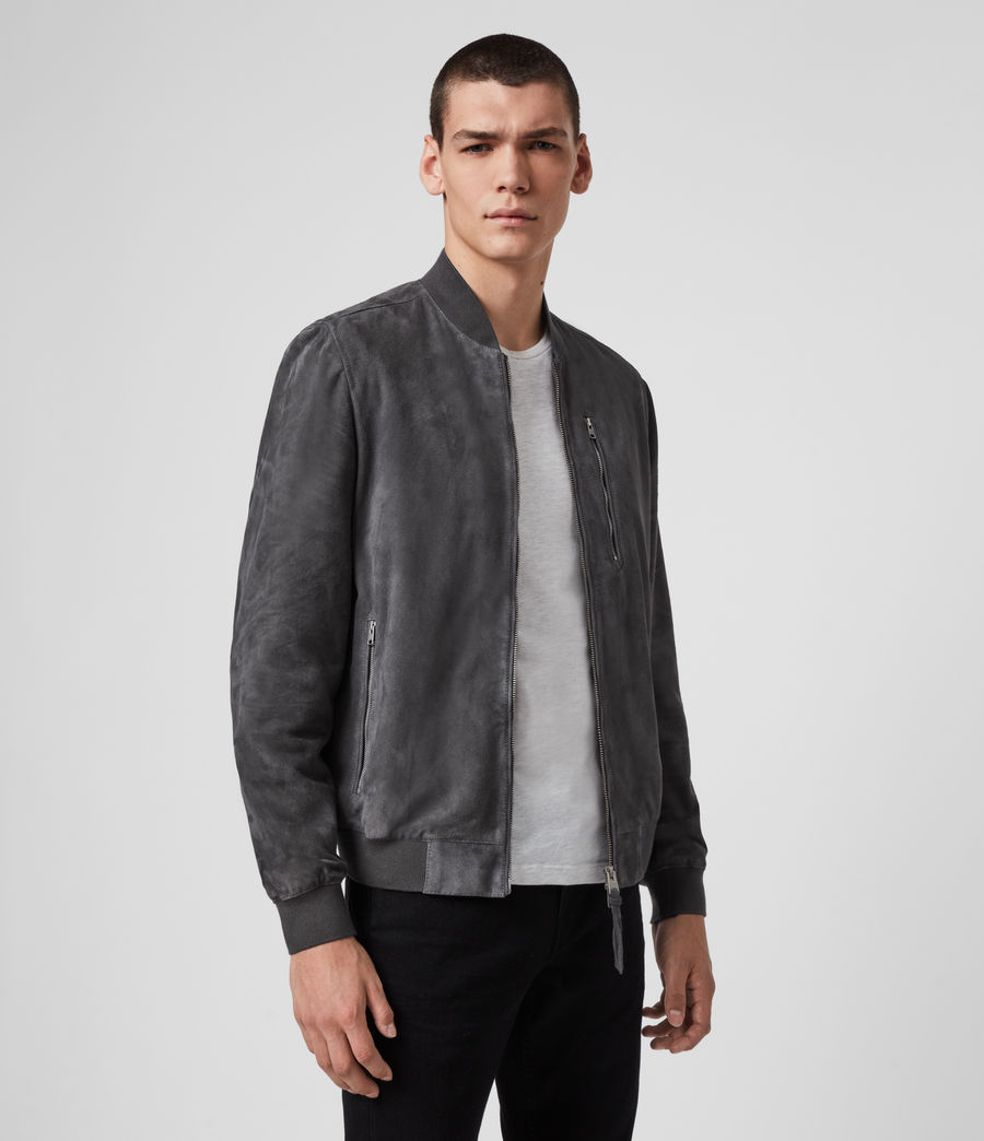 Men's Kemble Suede Bomber Jacket (slate_grey) - Image 3