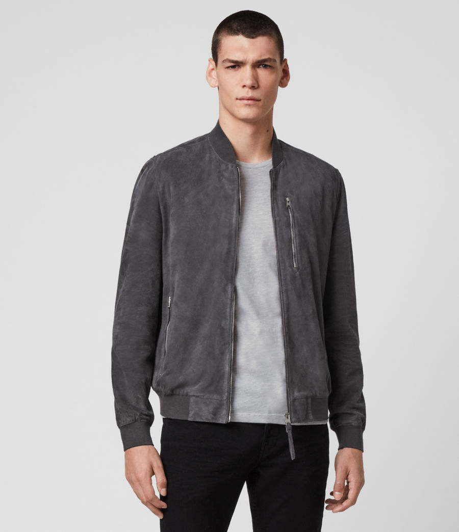 Men's Kemble Suede Bomber Jacket (slate_grey) - Image 4