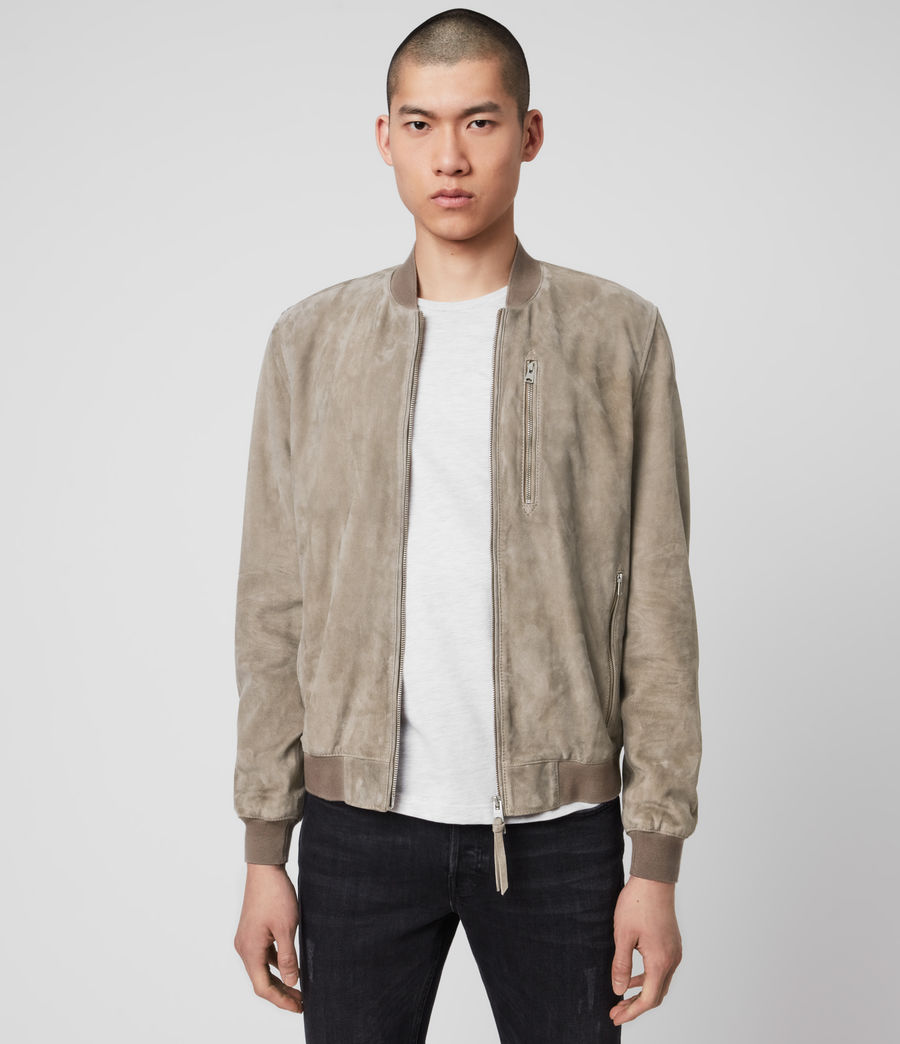 Mens Kemble Suede Bomber Jacket (light_taupe) - Image 1