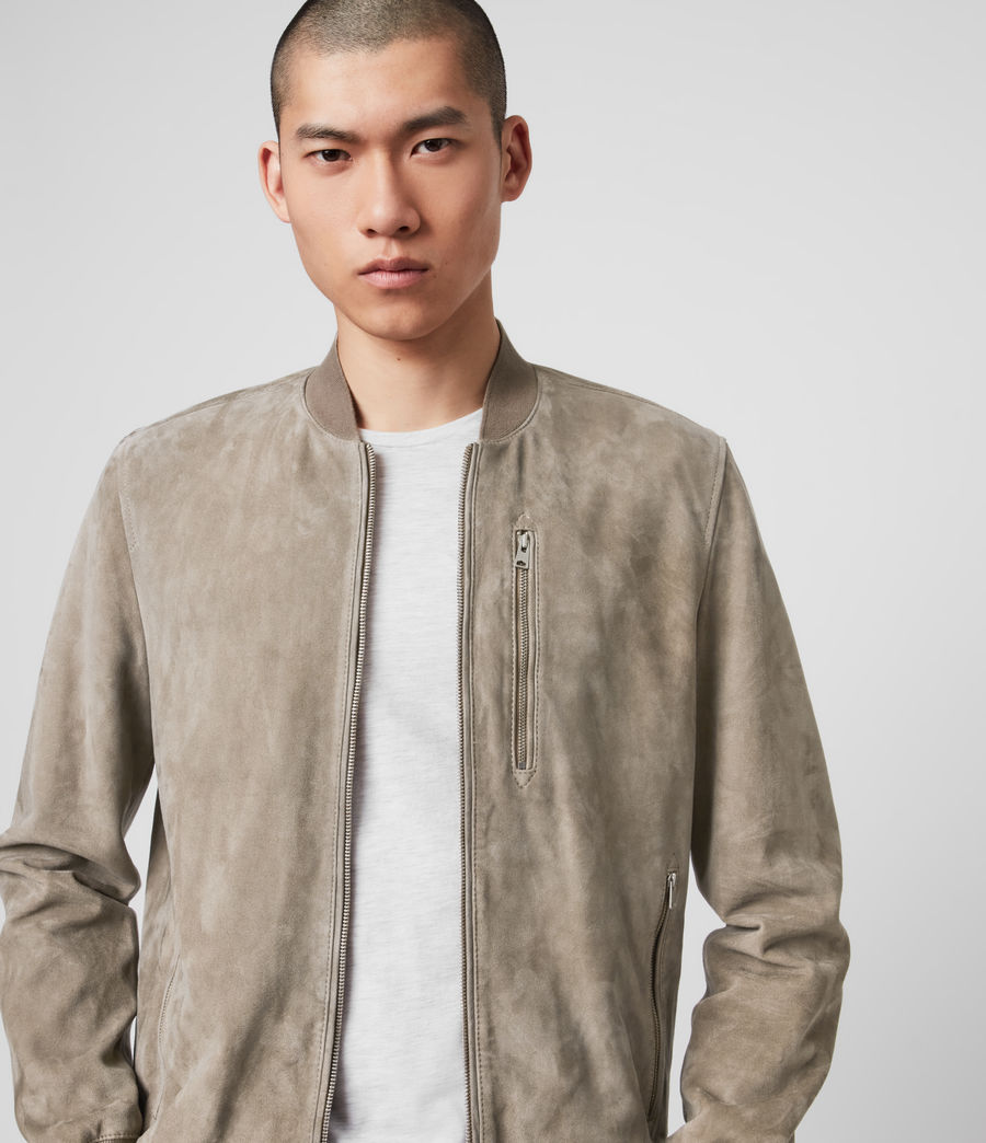 Men's Kemble Suede Bomber Jacket (light_taupe) - Image 2