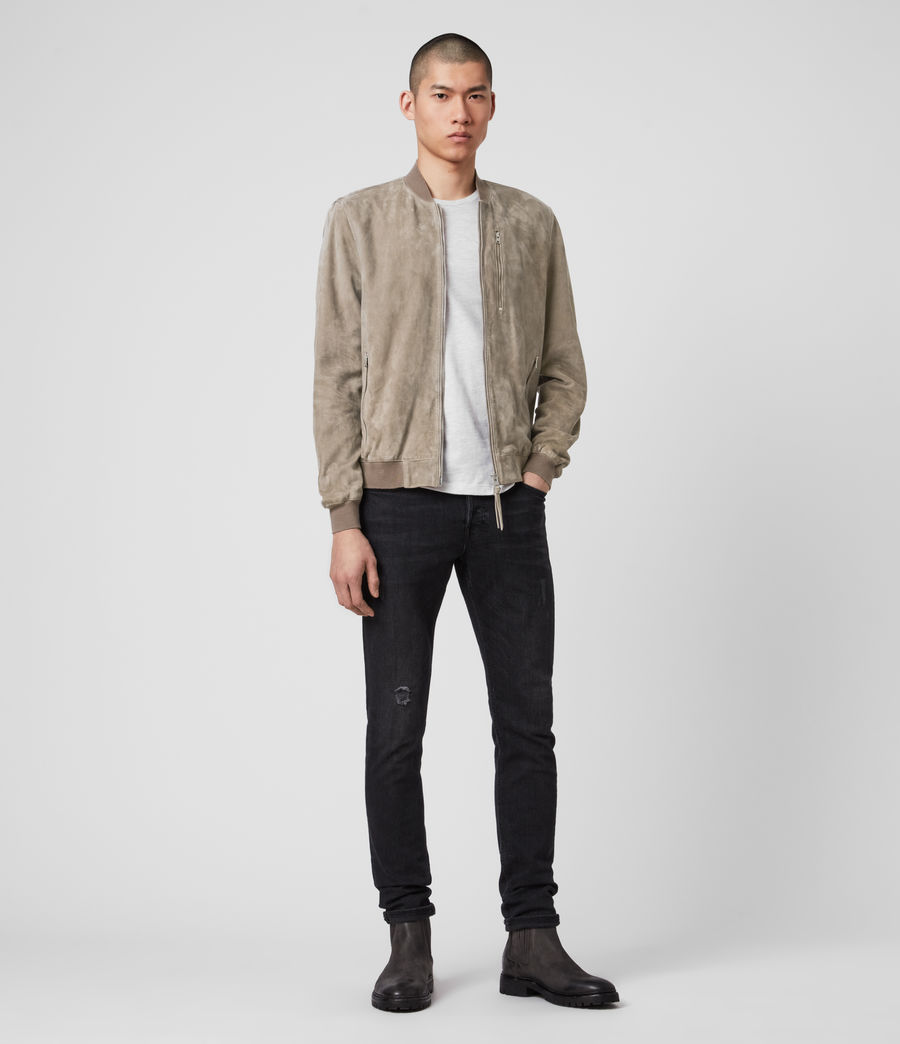 Men's Kemble Suede Bomber Jacket (light_taupe) - Image 3