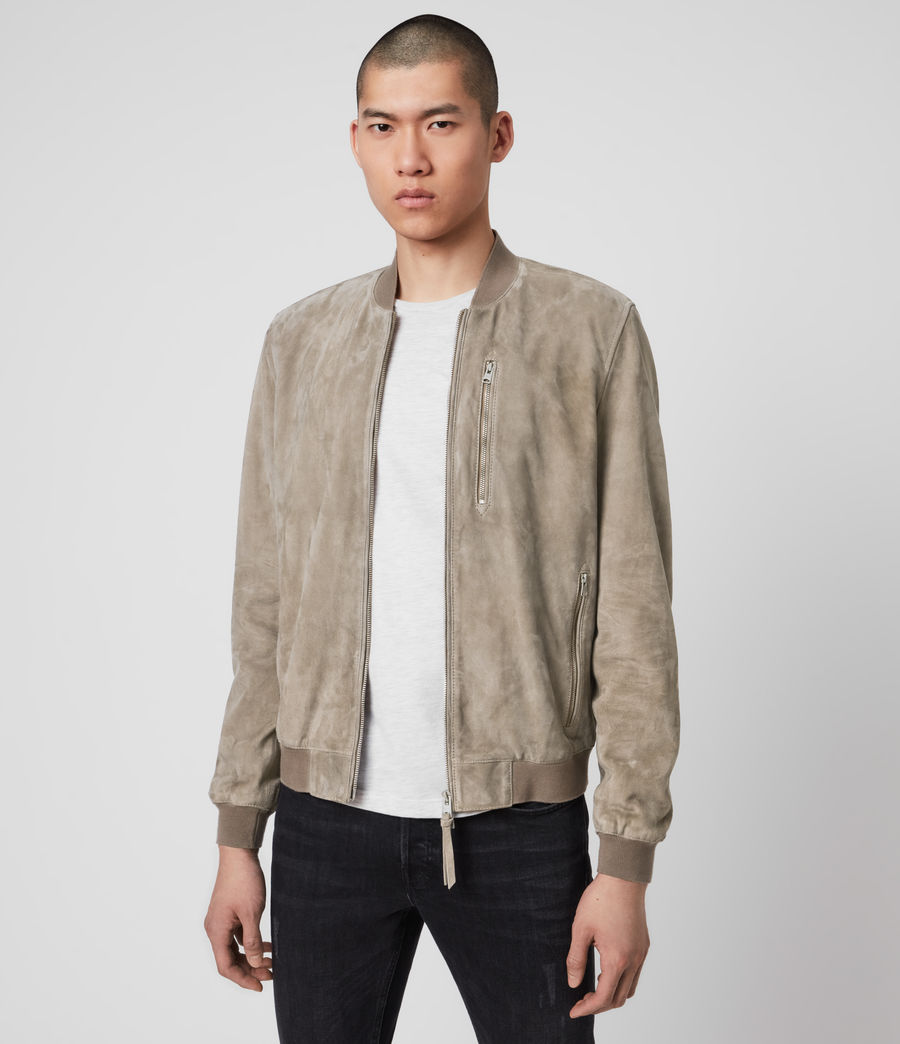 Mens Kemble Suede Bomber Jacket (light_taupe) - Image 2