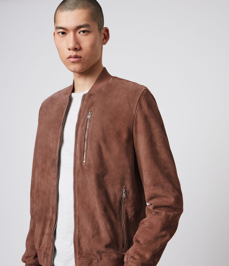 Mens Kemble Suede Bomber Jacket (oxblood) - Image 2