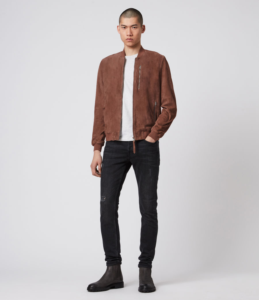 Mens Kemble Suede Bomber Jacket (oxblood) - Image 8