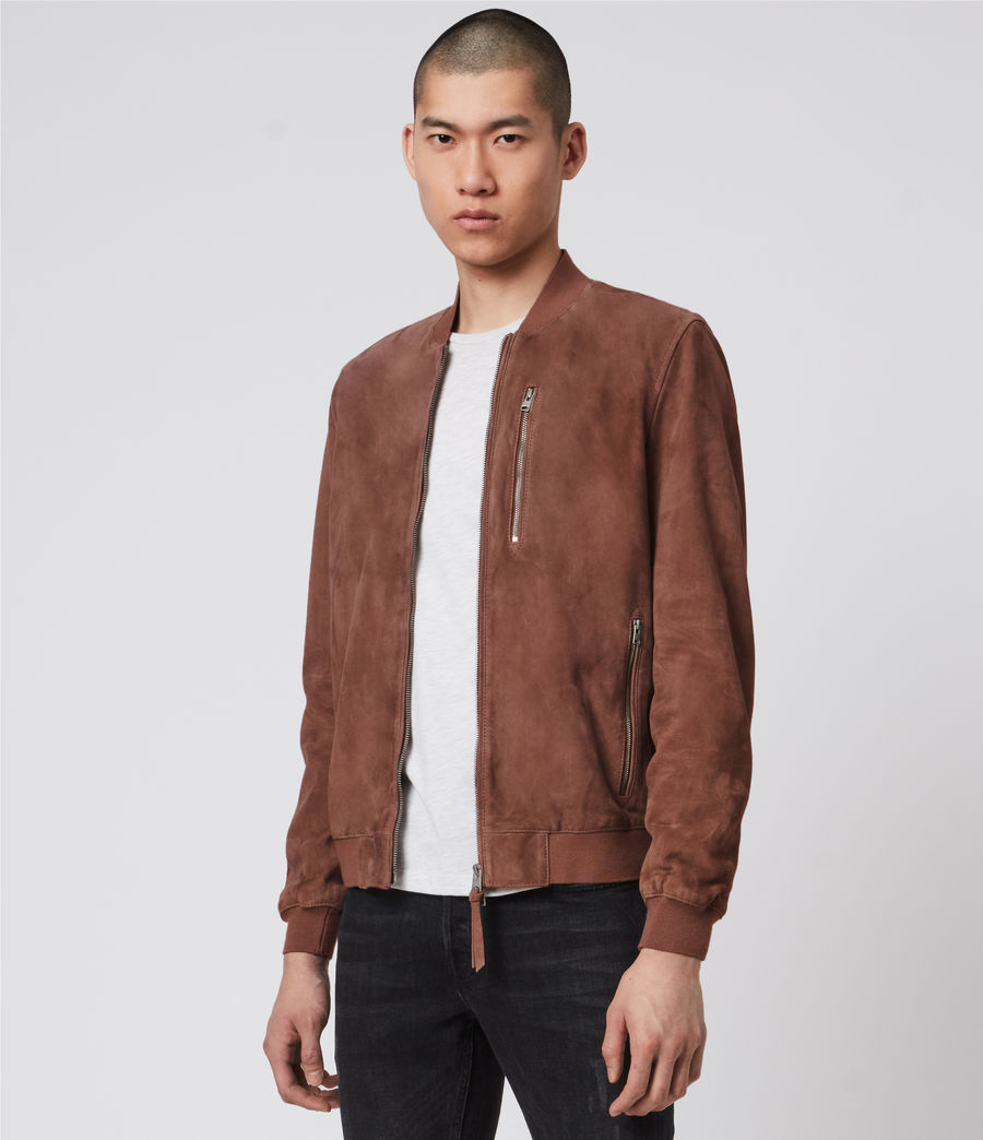 Mens Kemble Suede Bomber Jacket (oxblood) - Image 9