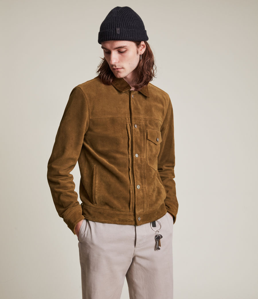 Mens Ashbrook Suede Jacket (camel) - Image 4
