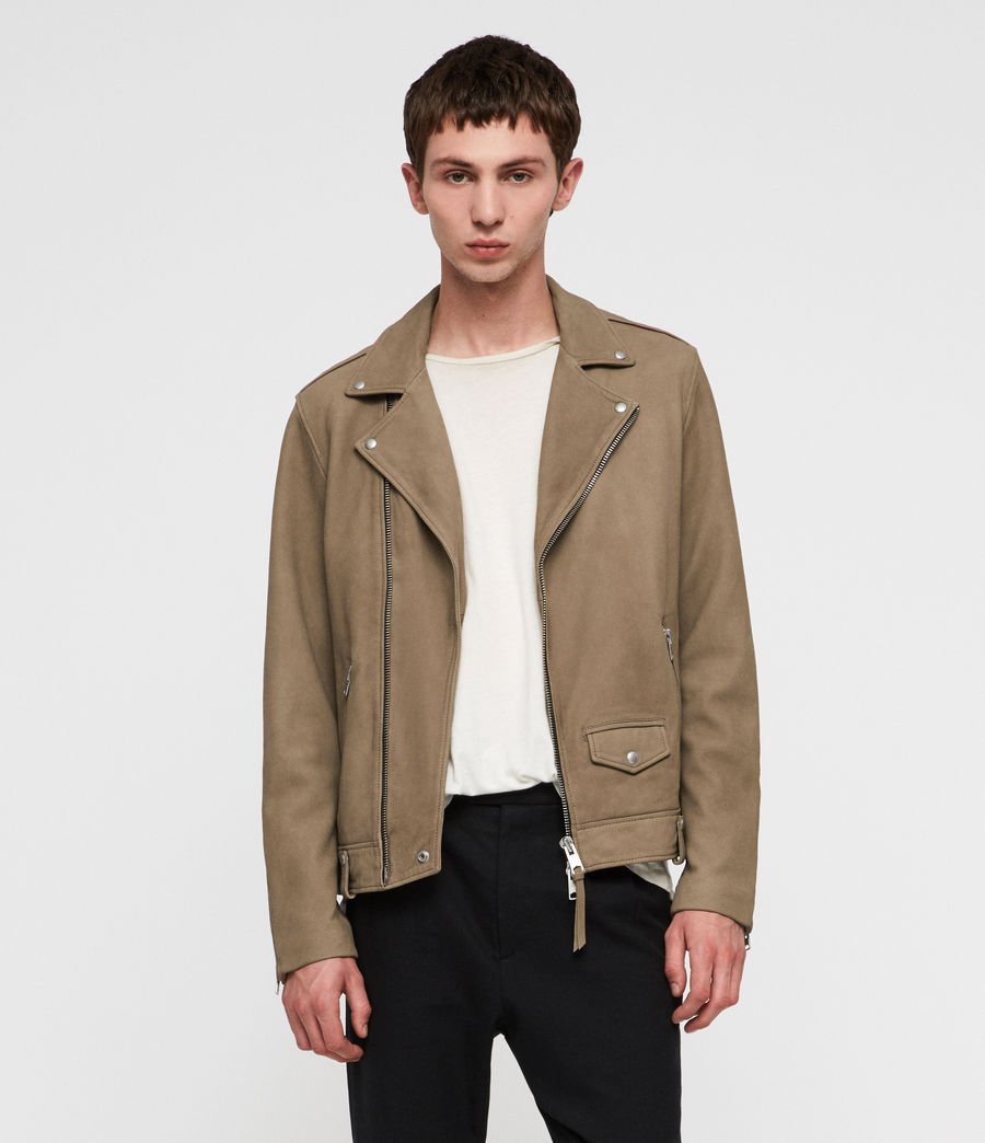 Men's Elwick Nubuck Biker Jacket (mushroom_brown) - Image 1