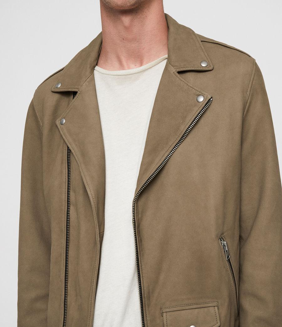 Mens Elwick Nubuck Biker Jacket (mushroom_brown) - Image 2
