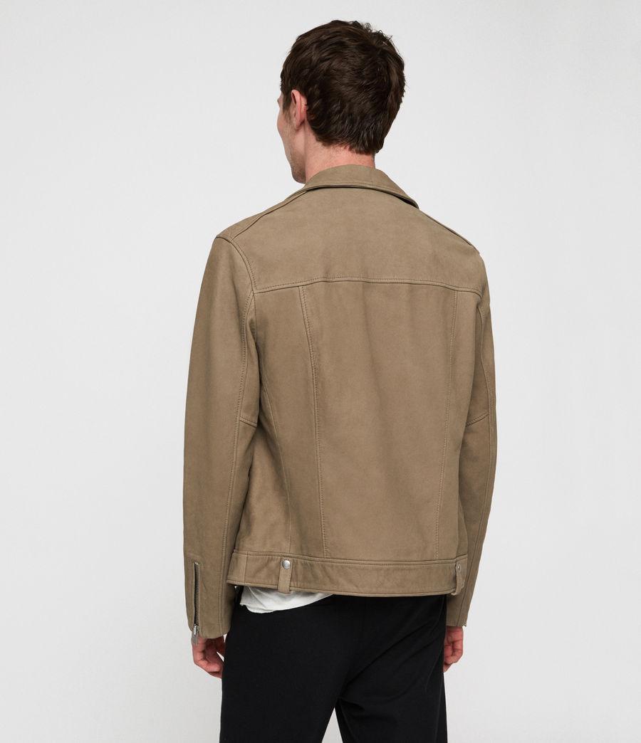 Mens Elwick Nubuck Biker Jacket (mushroom_brown) - Image 4