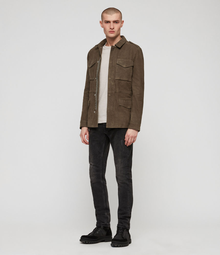 Men's Courte Nubuck Jacket (dark_khaki_green) - Image 3