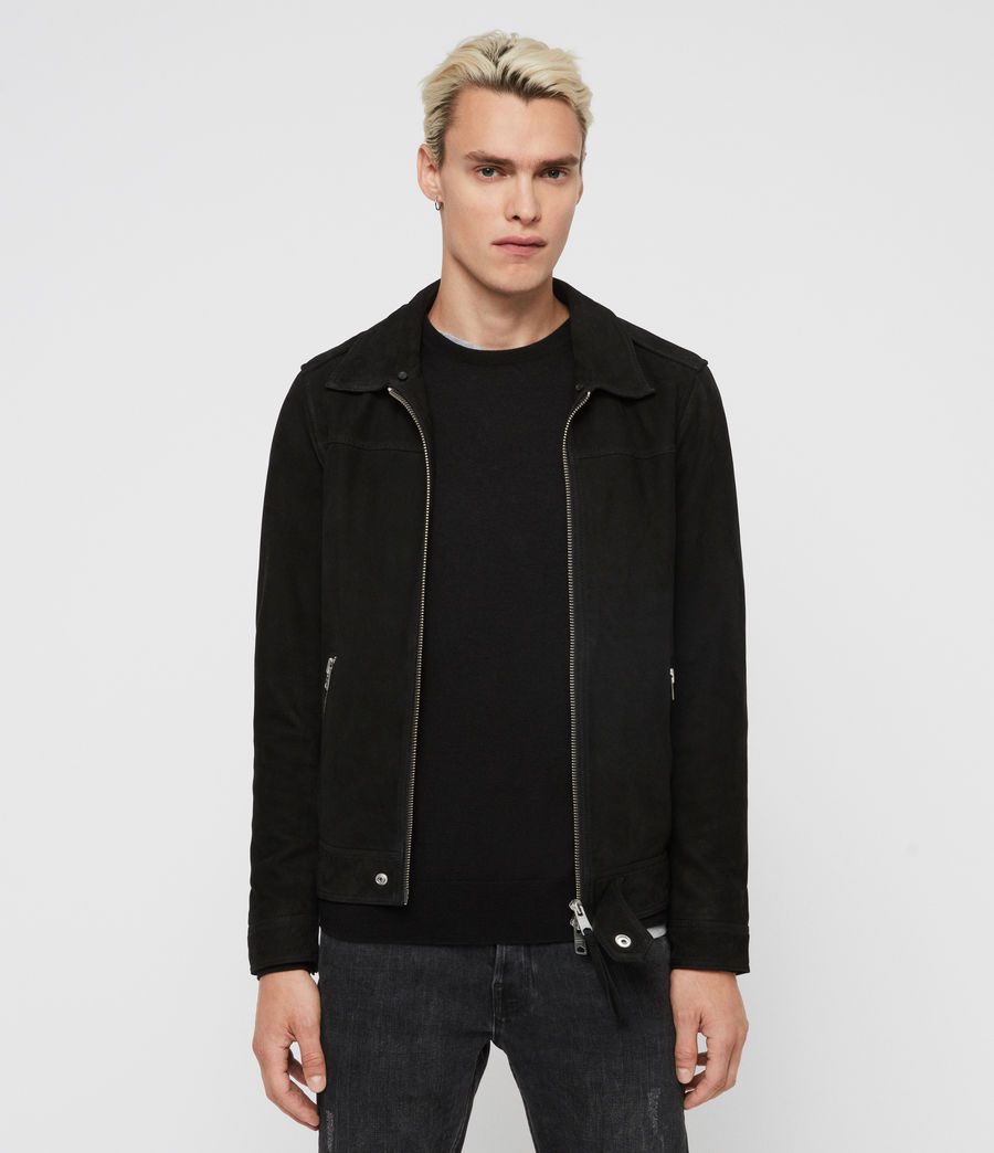 Mens Lock Leather Jacket (black) - Image 4