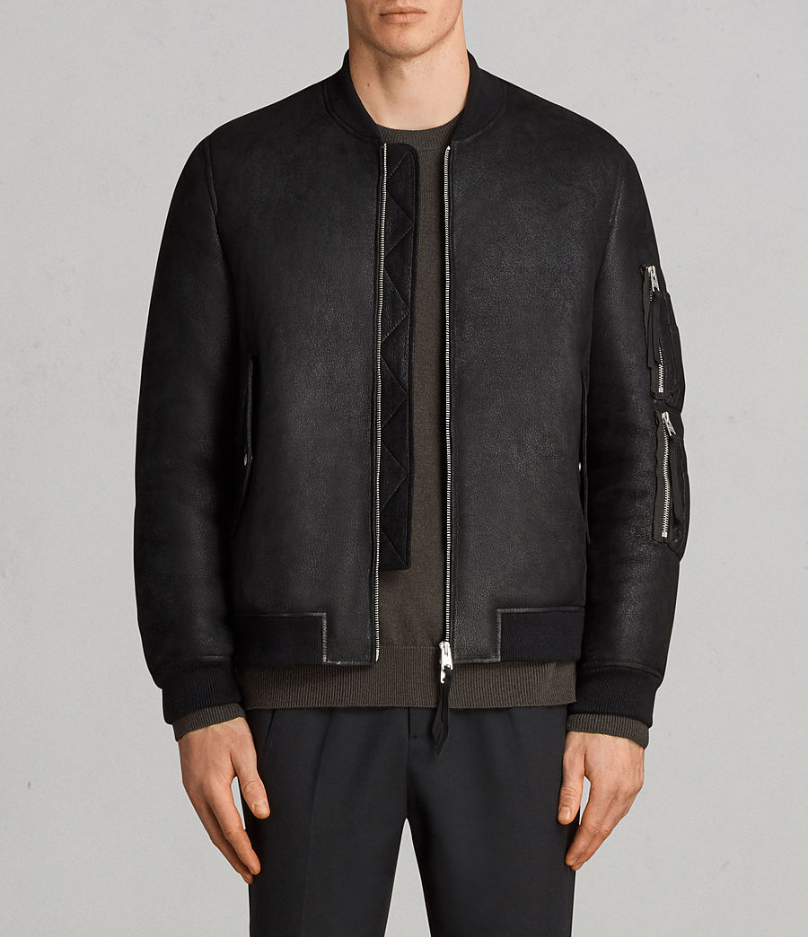 Men's Rogan Shearling Bomber Jacket (black) - Image 1