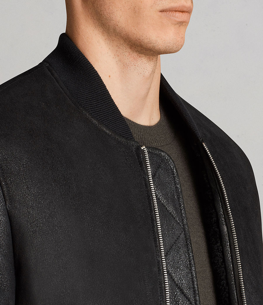 Men's Rogan Shearling Bomber Jacket (black) - Image 2
