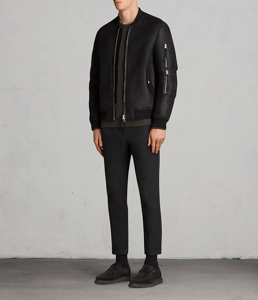 Men's Rogan Shearling Bomber Jacket (black) - Image 3