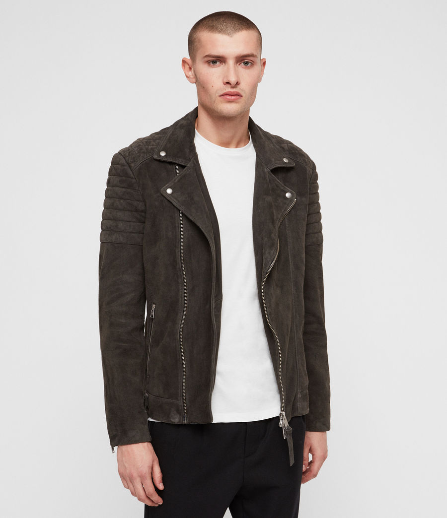 Men's Haskett Suede Quilted Biker Jacket (charcoal_grey) - Image 1