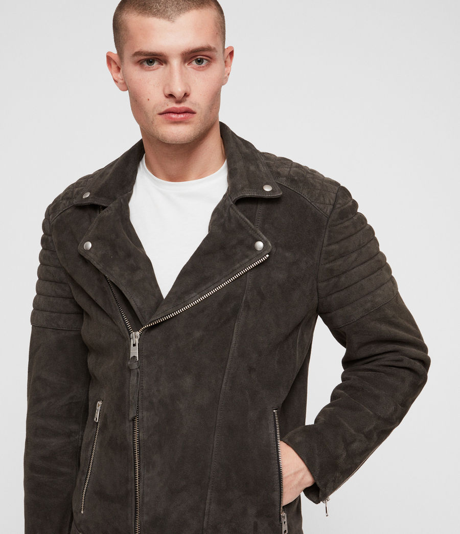 Men's Haskett Suede Quilted Biker Jacket (charcoal_grey) - Image 2