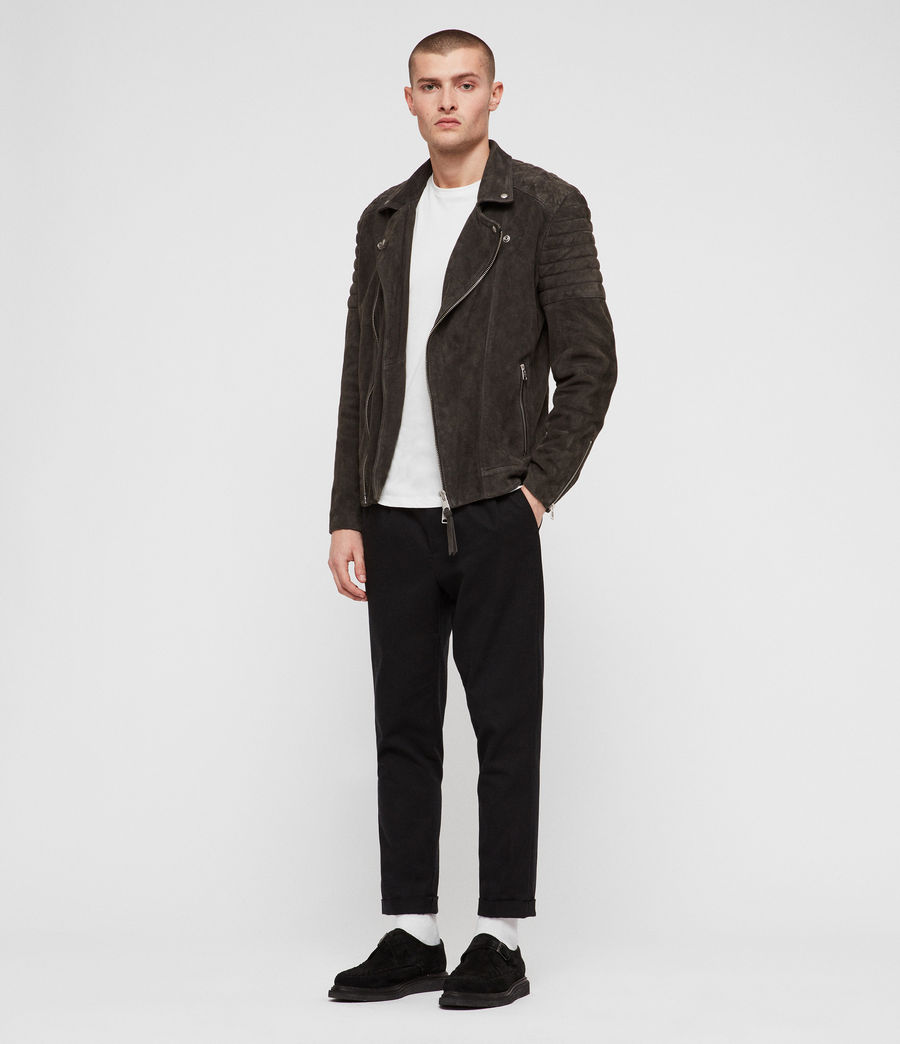 Men's Haskett Suede Quilted Biker Jacket (charcoal_grey) - Image 3