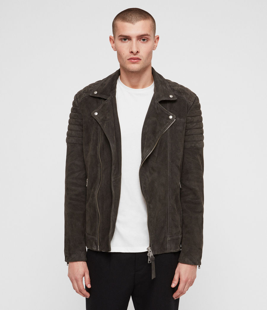 Mens Haskett Suede Quilted Biker Jacket (charcoal_grey) - Image 4