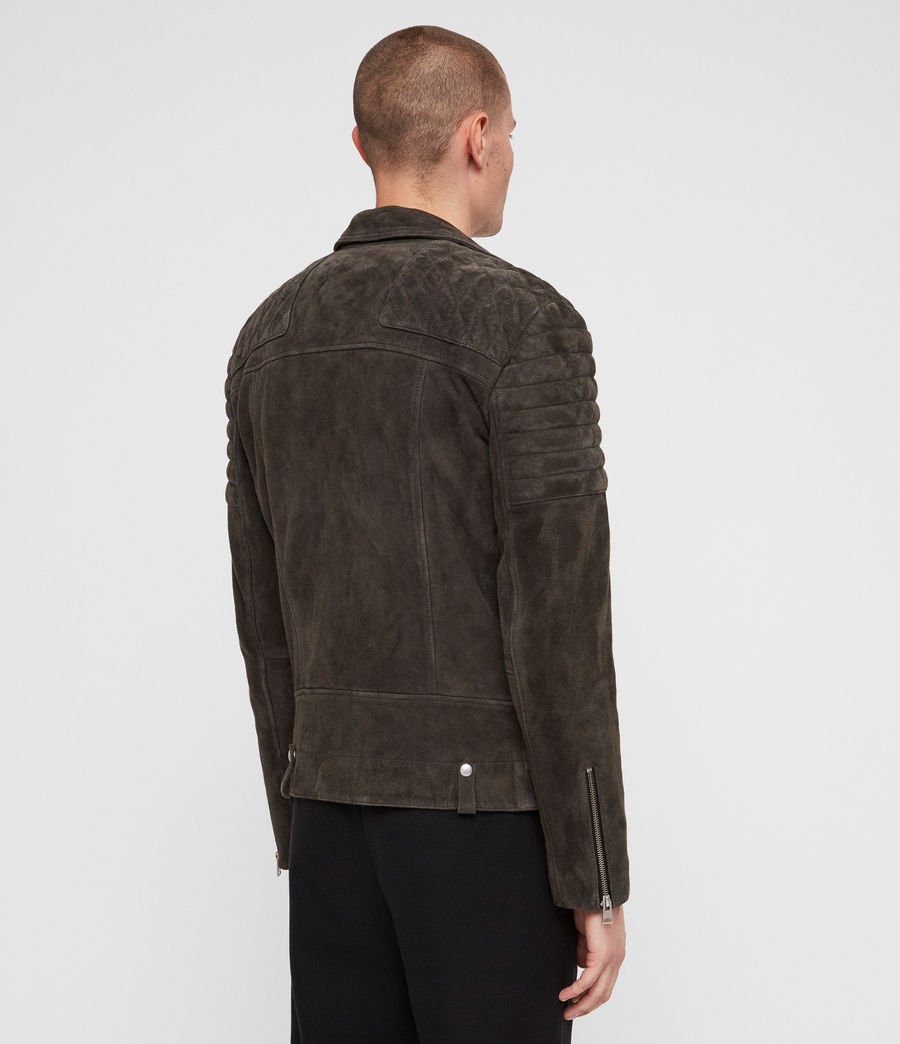 Men's Haskett Suede Quilted Biker Jacket (charcoal_grey) - Image 5