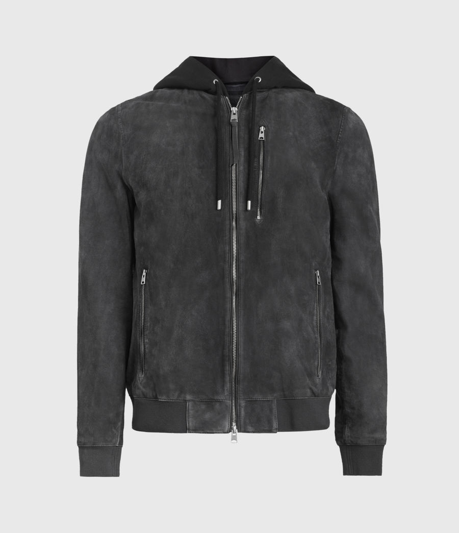 Mens Troy Suede Bomber Jacket (black) - Image 1
