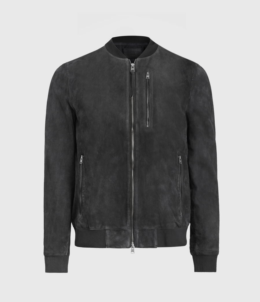 Mens Troy Suede Bomber Jacket (black) - Image 3