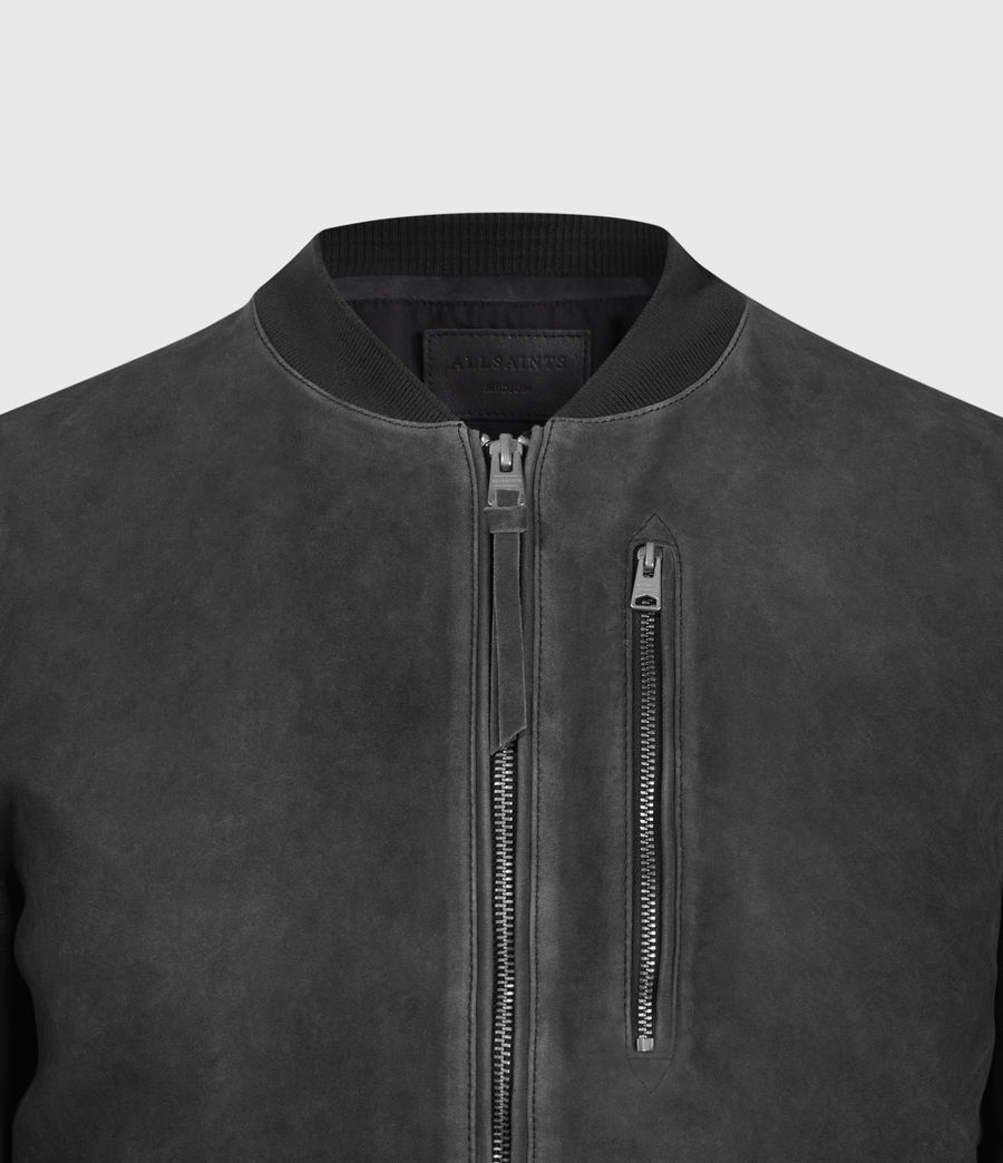 Mens Troy Suede Bomber Jacket (black) - Image 4