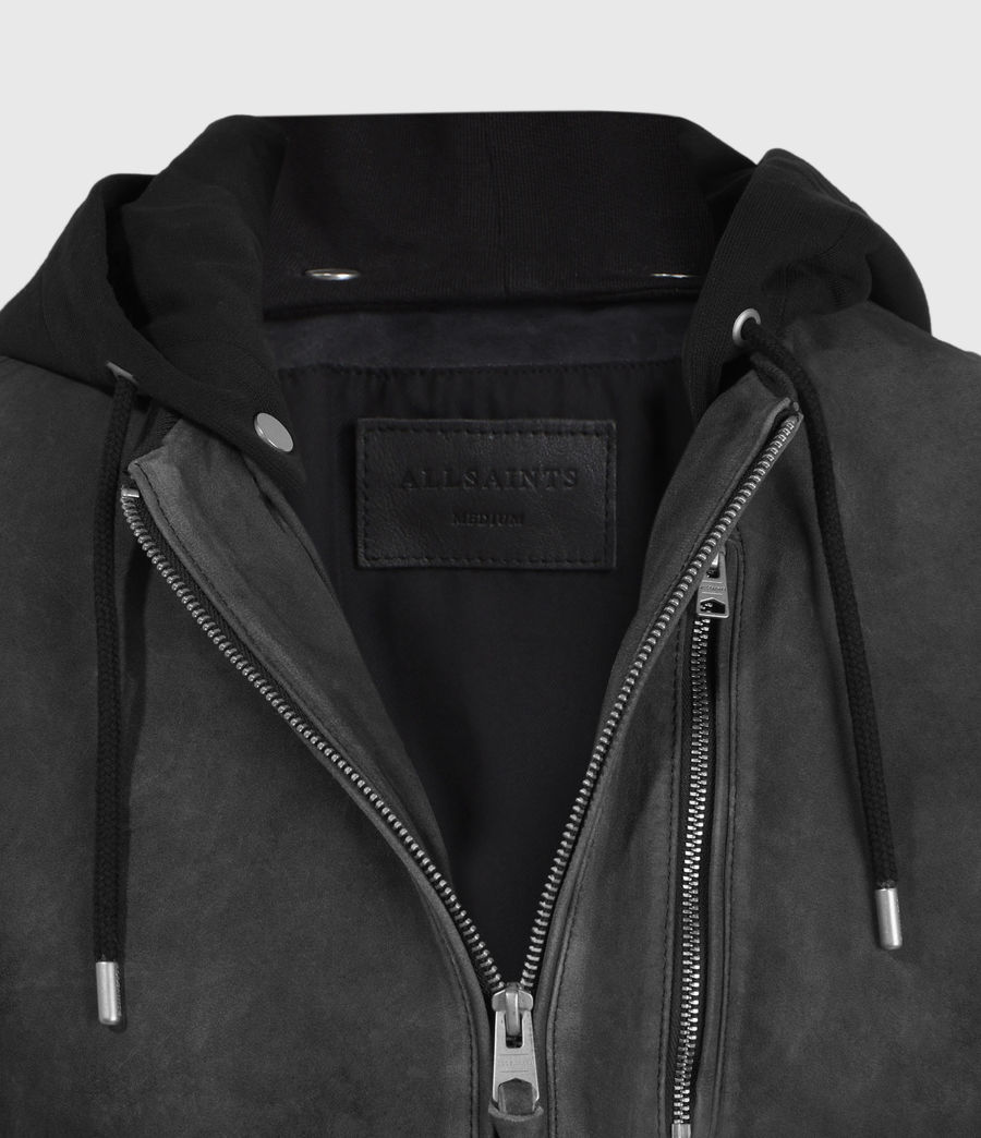 Mens Troy Suede Bomber Jacket (black) - Image 5