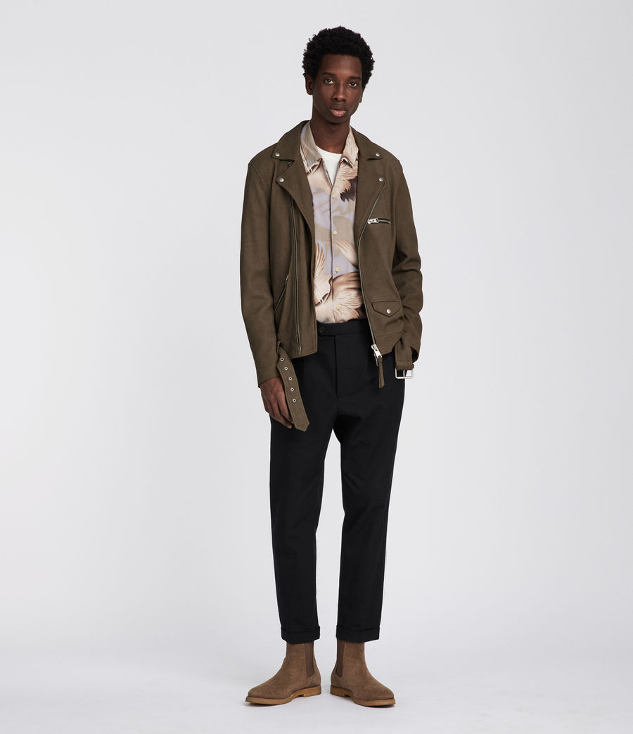 Men's Quinn Leather Biker Jacket (dark_khaki_green) - Image 1