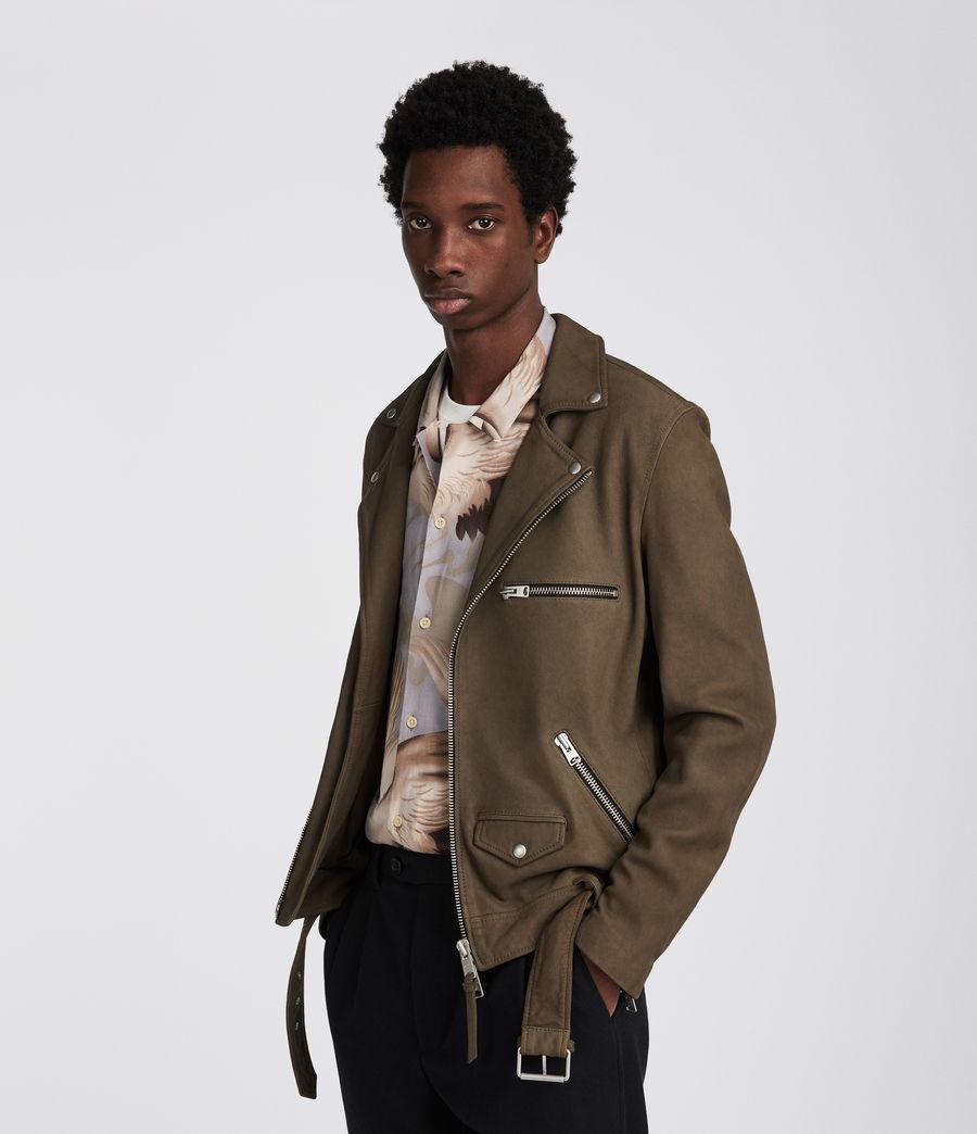 Mens Quinn Leather Biker Jacket (dark_khaki_green) - Image 2