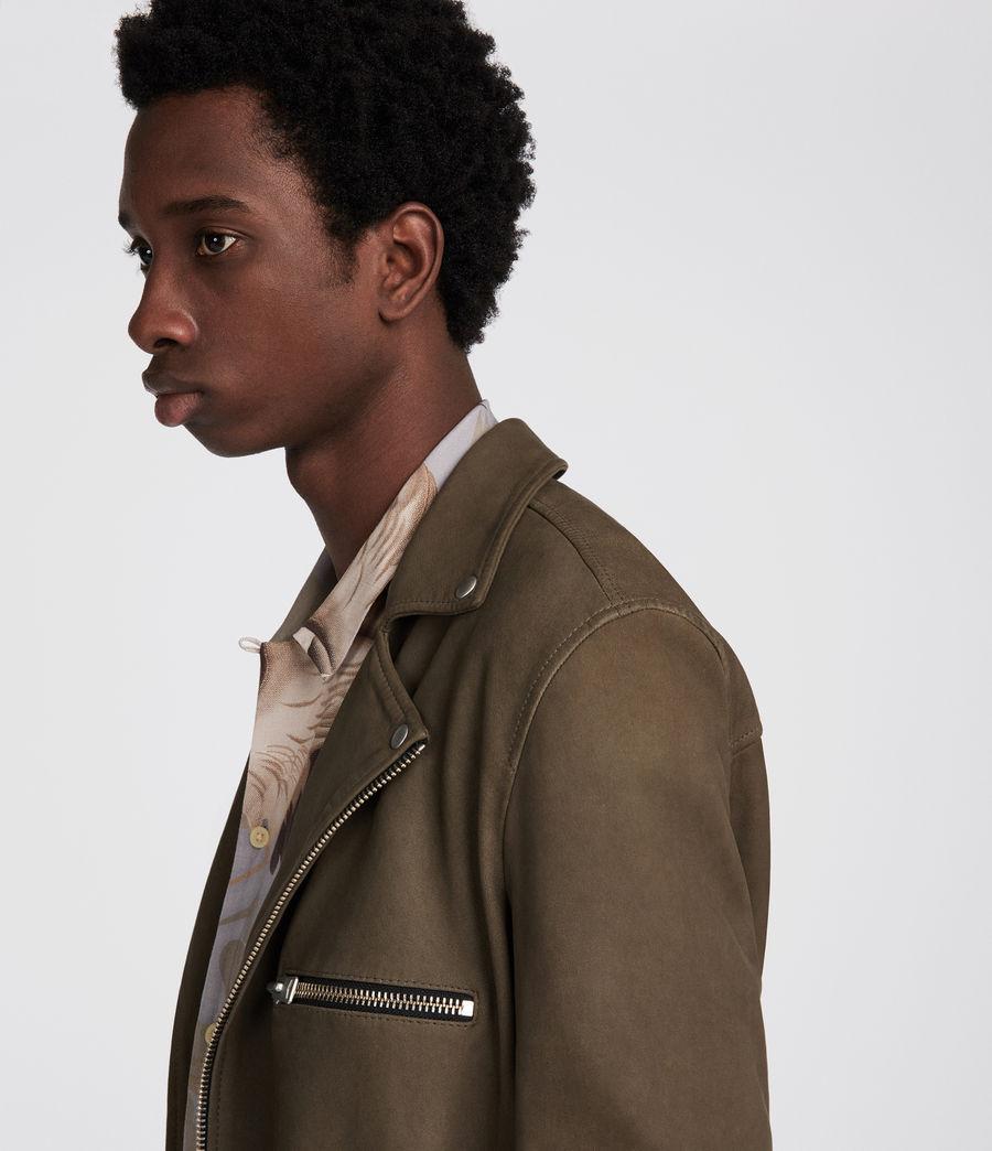 Men's Quinn Leather Biker Jacket (dark_khaki_green) - Image 3