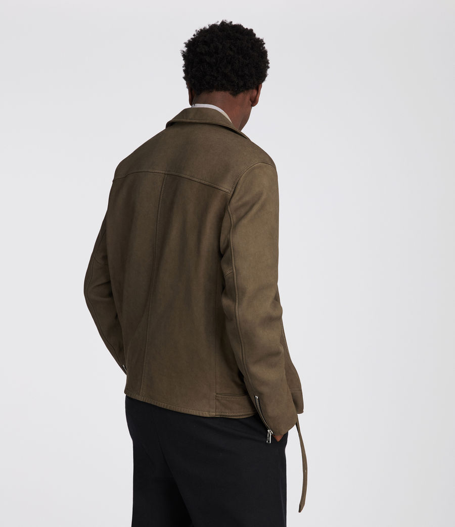 Mens Quinn Leather Biker Jacket (dark_khaki_green) - Image 4