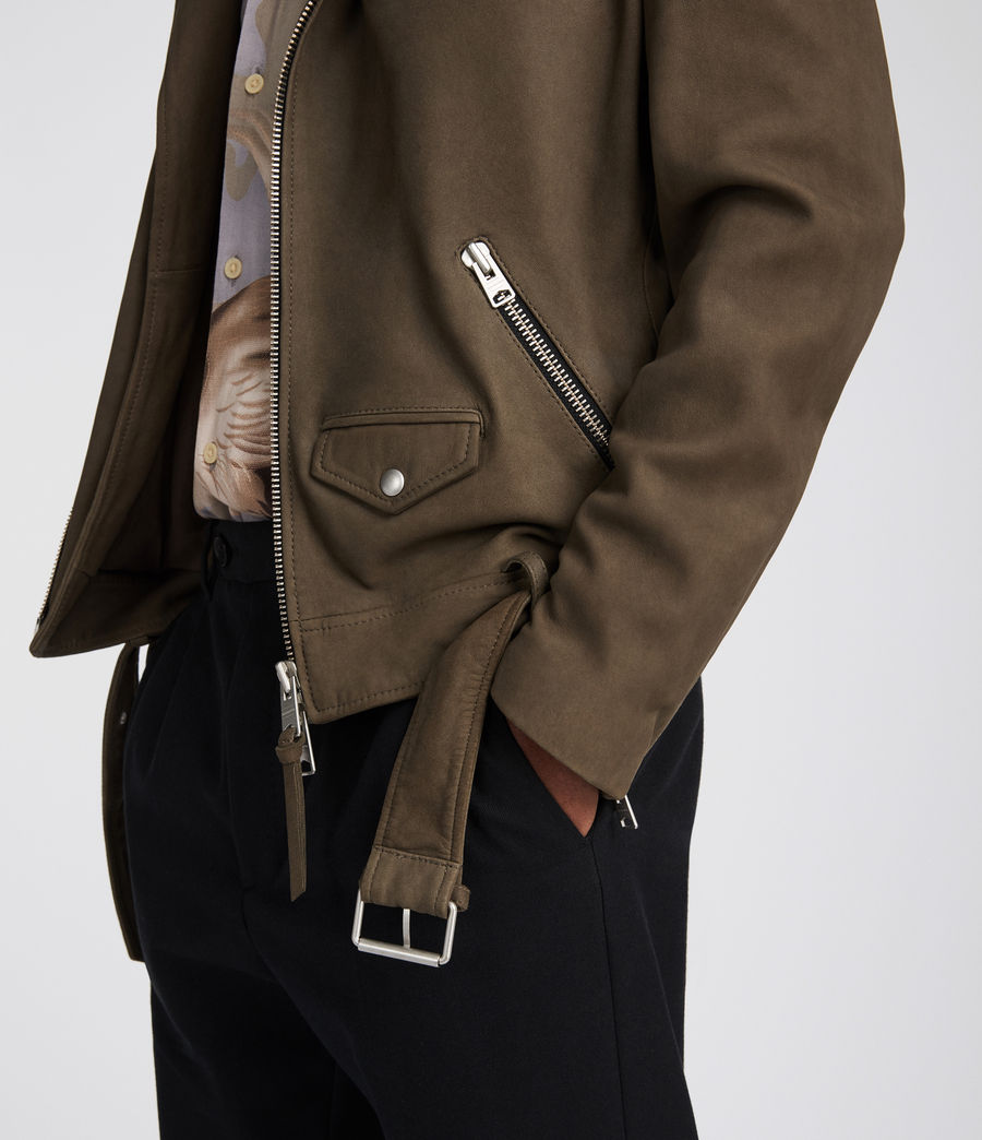 Mens Quinn Leather Biker Jacket (dark_khaki_green) - Image 5