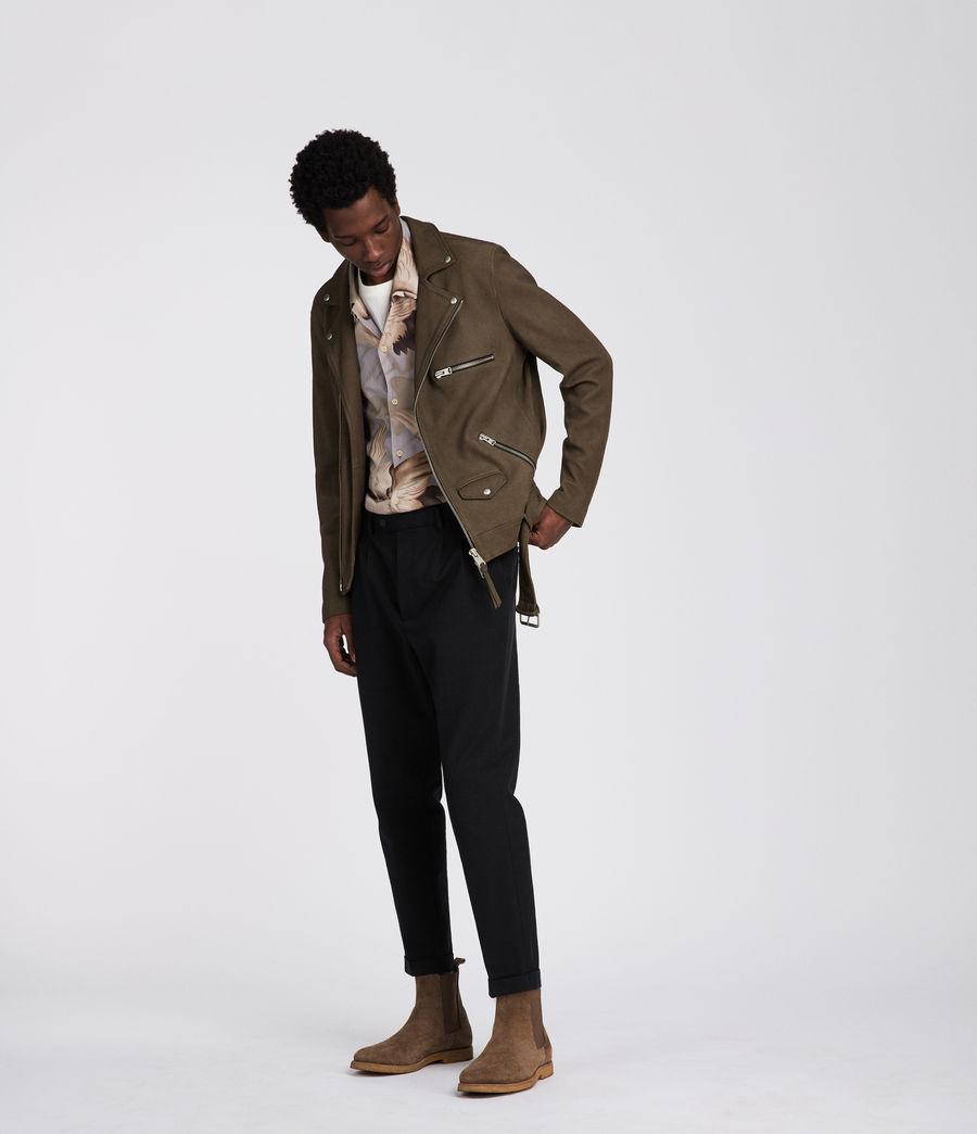 Mens Quinn Leather Biker Jacket (dark_khaki_green) - Image 6
