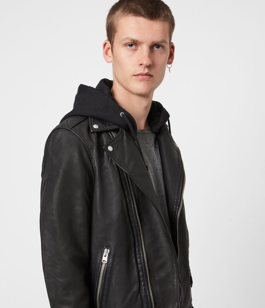 Mens Renzo Leather Biker Jacket (jet_black) - Image 1