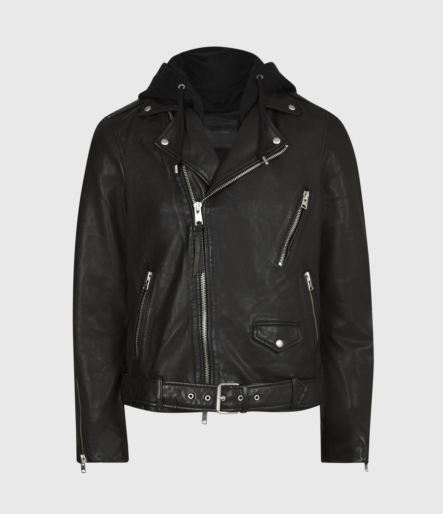 Mens Renzo Leather Biker Jacket (jet_black) - Image 2
