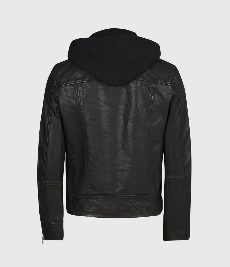 Mens Renzo Leather Biker Jacket (jet_black) - Image 3