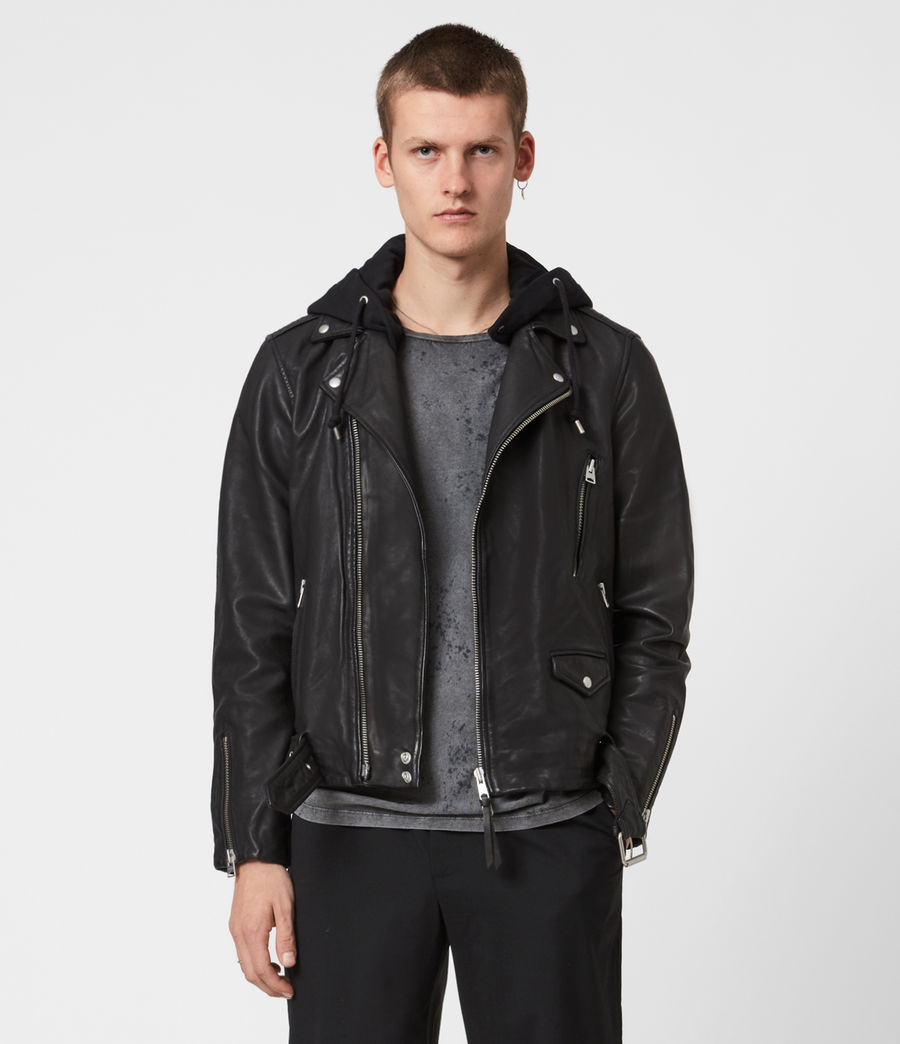 Mens Renzo Leather Biker Jacket (jet_black) - Image 4