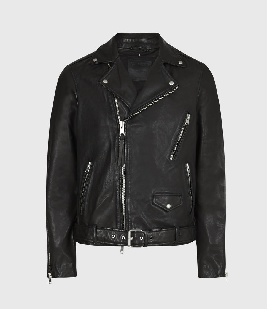 Mens Renzo Leather Biker Jacket (jet_black) - Image 5