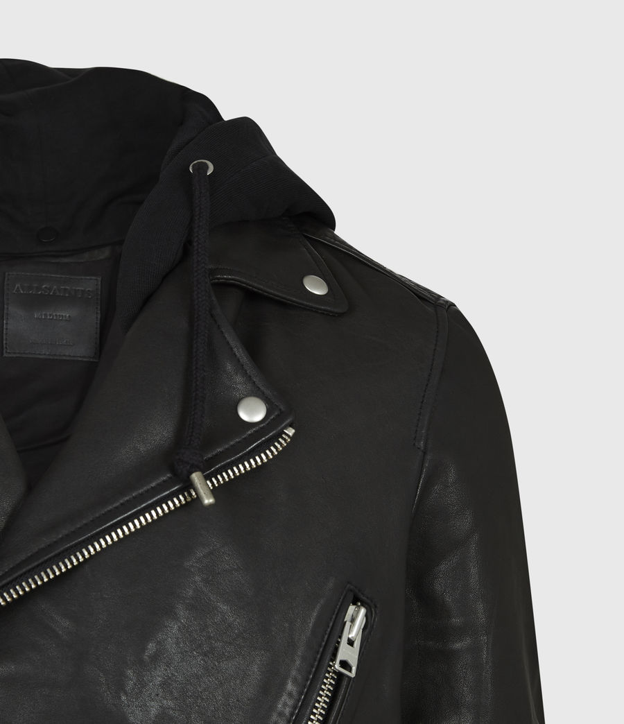 Mens Renzo Leather Biker Jacket (jet_black) - Image 6