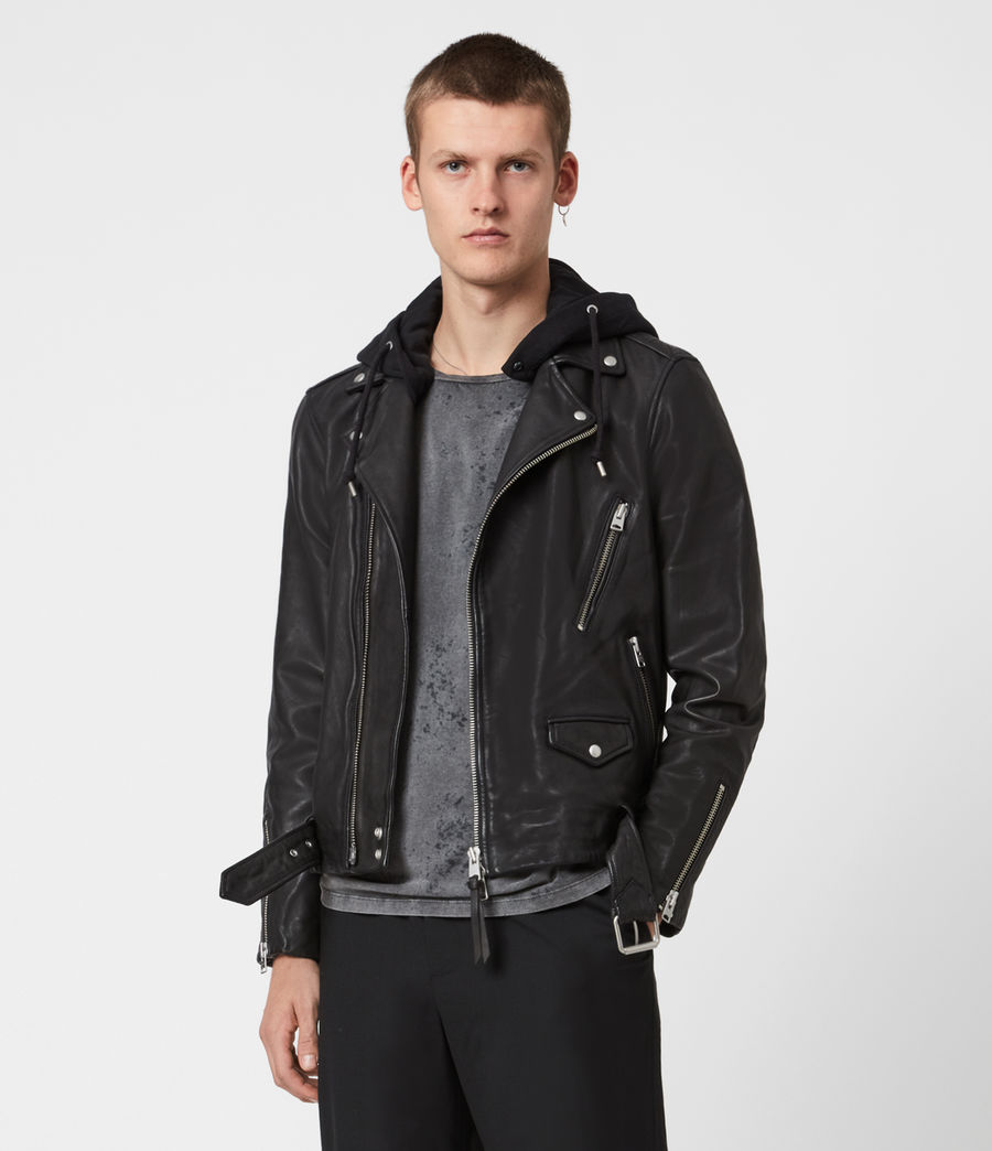Mens Renzo Leather Biker Jacket (jet_black) - Image 7