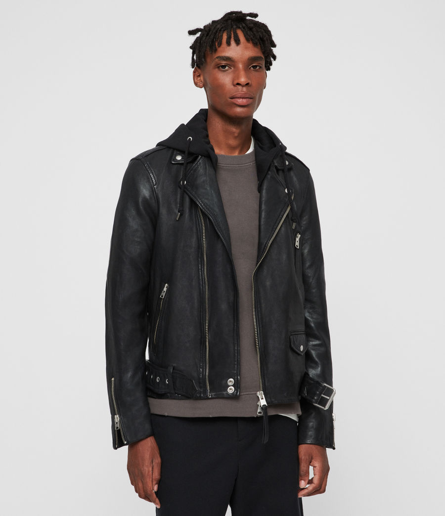 Uomo Renzo Leather Biker Jacket (black) - Image 1
